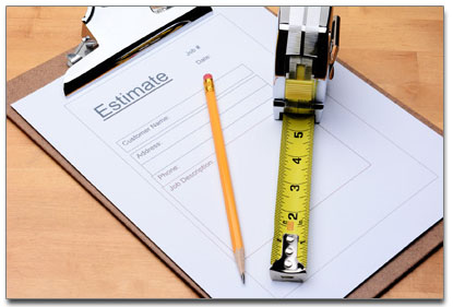construction estimate form with pencil and tape measure