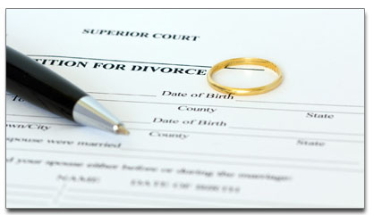 Free divorce forms online free divorce papers pen with wedding ring on a divorce form solutioingenieria Image collections