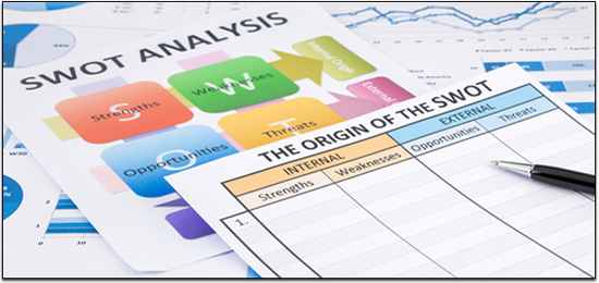 Blank form of SWOT analysis with colorful charts