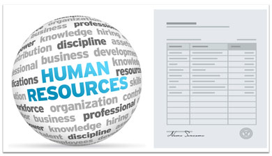 human resources logo next to a blank form