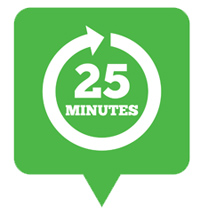 Every 25 minutes sign icon.