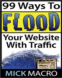 Cover of book:99 ways to flood your website with traffic by mick macro