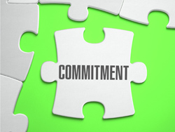 Commitment - Jigsaw Puzzle with Missing Pieces with bright green background